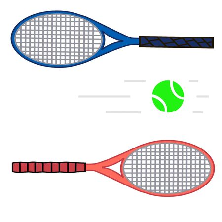 repel: Vector illustration for lawn tennis, consisting of flying green ball, grey racket close-up.Sports equipment for the sport.Wooden object hanging in the air to repel the attack of the opponent.