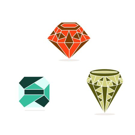 brilliance: Vector illustration , green, pink, blue gem stone.Isolated figure, the three jewels, on a white background.Icon for wealth, brilliance, beauty, mineral, ruby, emerald, sapphire, diamond, gift, investment, arts.
