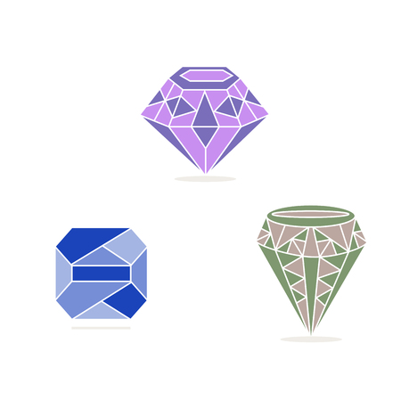 brilliance: Vector illustration, green, pink, blue gem stone.Isolated figure, the three jewels, on a white background.Icon for wealth, brilliance, beauty, mineral, ruby, emerald, sapphire, diamond, gift, investment, arts.