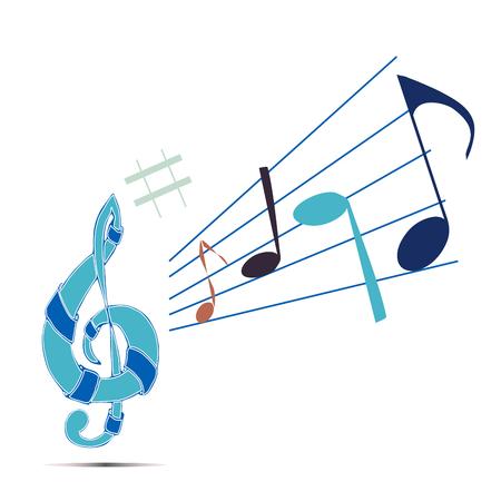 crotchet: Vector illustration logo for musical signs.