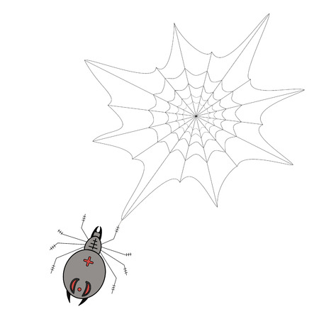 Vector illustration of logo spider weaves a web waiting