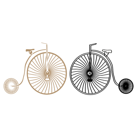 antiquated: Two retro bicycles with the big front Illustration