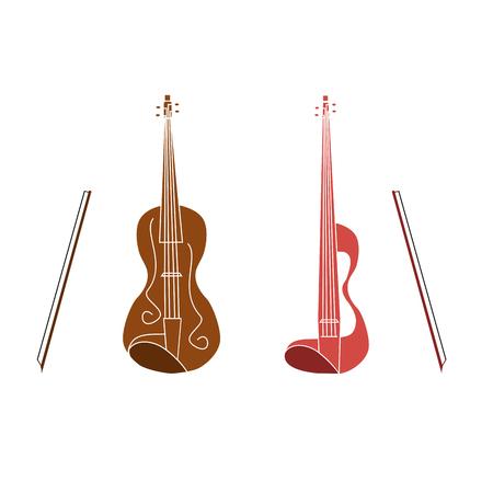 Vector illustration of logo for stringed musical instrument violin.