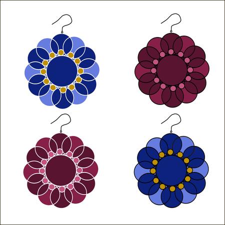 platinum: Vector illustration of logo for womens earrings.