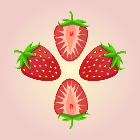 illustration  for the theme strawberry.Isolated drawing consists of ripe red fruits slice with green leaves on a pink background.The icon for the fresh juice vitamins health caf? bar