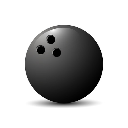 sports team: illustration for the theme of a flying bowling ball.Isolated drawing consists of sports, equipment, round, route movement, striking on a black background.The icon for the mascot match team