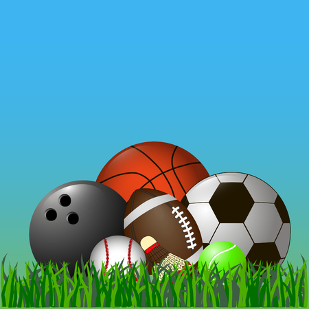 This vector illustration depicts a set of sports balls and a shuttlecock. Illustration