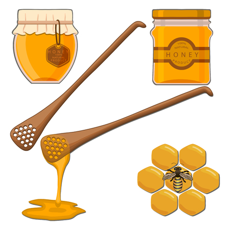 tablespoon: Abstract vector illustration of logo for the bee eating honey in the honeycomb on background.Bee drawing consisting of label, tag, wax, yellows beeswax, food, animal, insect, medicine healthy.Bees eat honey. Illustration