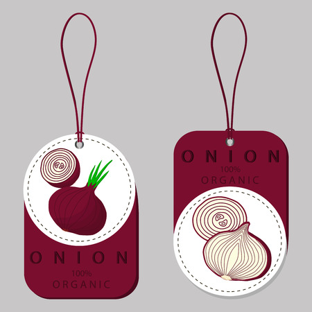Abstract vector illustration logo for whole ripe vegetables round onion, with green stem, cut sliced.Onion drawing consisting of tag label bow, peel fruits, pip ripe sweet food.Eat fresh onions health.
