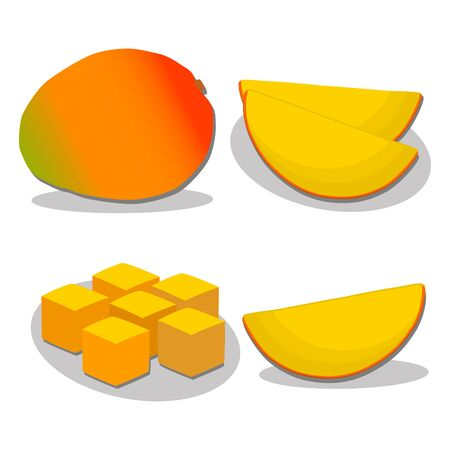 vector illustration of logo for the theme of the yellow fruit mango