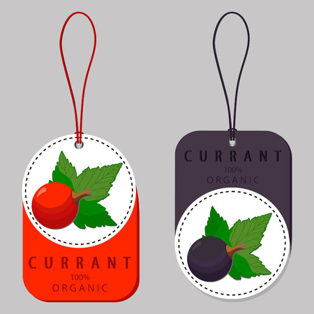 Vector illustration of logo for whole ripe berry red currant, with green stem leaf, natural fruit, close-up background.Currant drawing consisting of tag label, ripe sweet food.Eat fresh currant berries.
