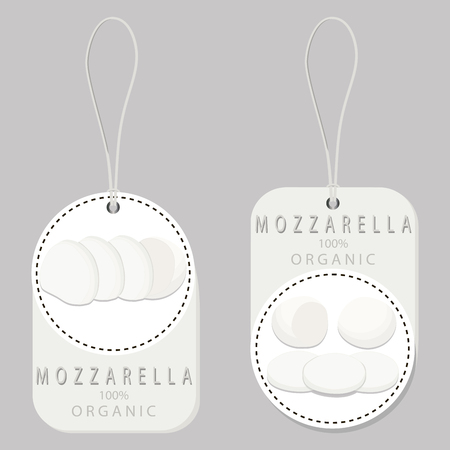 appetizer: Vector illustration logo for whole white cottage cheese Mozzarella, cutting pieces sliced ??background.Cheese drawing pattern consisting of tag label bow, mozzarella appetizer, nutrition.Eat fresh cheeses.
