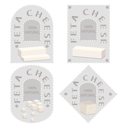 appetizer: Vector illustration logo for whole white cottage cheese Feta, cutting piece sliced, close-up on background.Cheese drawing pattern consisting of tag label bow, feta appetizer, nutrition.Eat fresh cheeses.