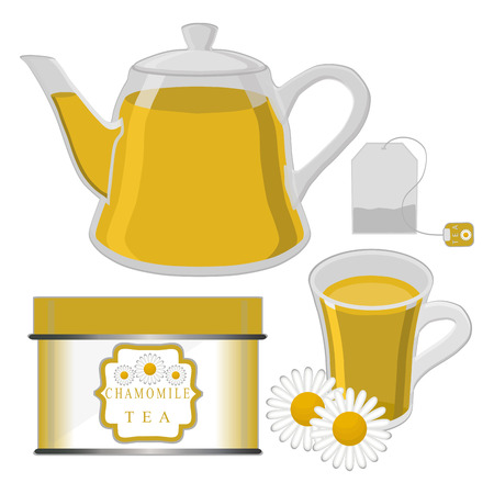 camomile tea: Abstract vector illustration logo for home camomile tea cup.Tea drawing pattern consisting.