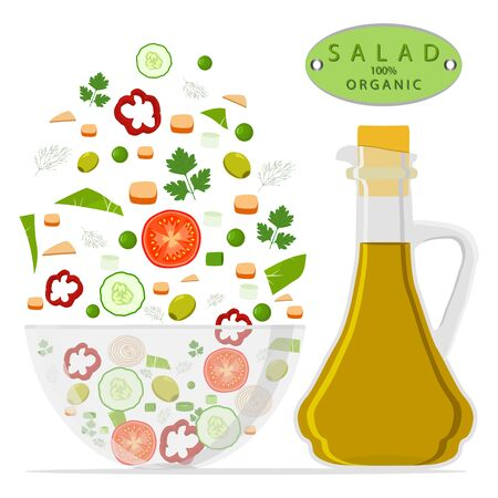 Vector illustration of logo for salad chopped in glass bowl, isolated white background.Salad drawing consisting of vegetable: tomato, cucumber, pepper, bottle olive oil, organic food.Eat salads in bowls. Vectores
