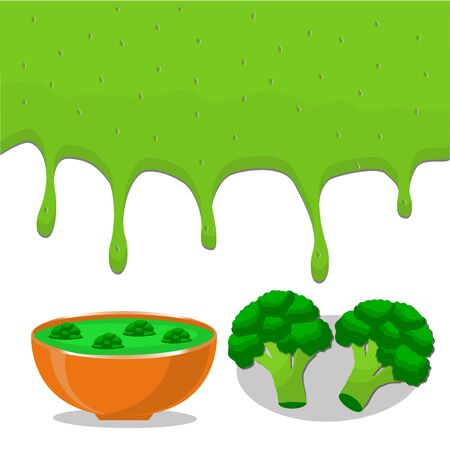 Vector illustration of logo for vegetable green broccoli, cut sliced, plant product flows down liquid in bowls, soups .Broccoli drawing consisting of kitchenware, bowl soup.Eat fresh broccolis. Illustration