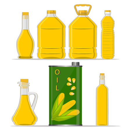 Vector illustration logo for set yellow glass bottle Corn Oil, plastic bottles with cap, iron jar maize oil, metal container natural organic liquid, corn in label, oily drop, closeup on white background. Illustration