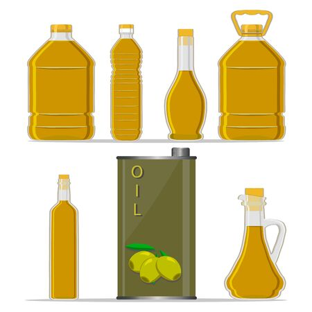 Vector illustration logo for set yellow glass bottle Olive Oil, plastic bottles with cap, iron jar olive oil, metal container natural organic liquid, olives in label, oily drop, closeup on white background. Illustration