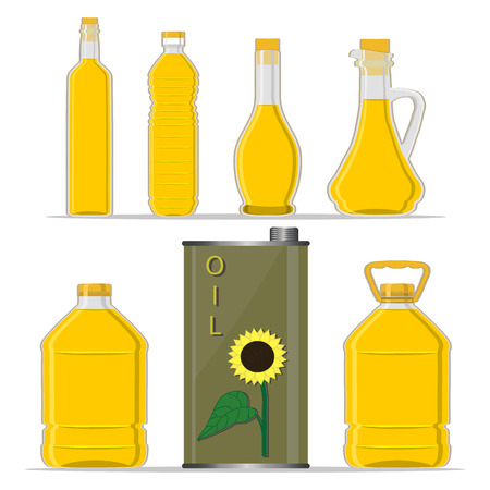Vector illustration logo for yellow glass bottle Sunflower Oil, plastic bottles with cap, iron jar sunflower oil, metal container natural organic liquid, sunny flowers in label, oily drop, white background.