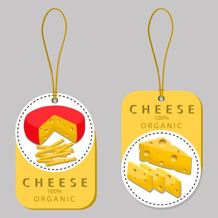 Vector illustration logo for whole yellow cottage cheese Parmesan, cutting pieces sliced ??on background.Cheese drawing pattern consisting of tag label bow, Roquefort appetizer, nutrition.Eat fresh cheeses Illustration