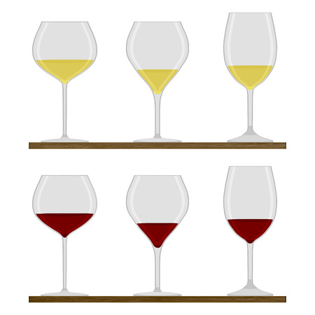 Vector illustration of logo for crystal wineglass, wooden table, isolated close-up background.Wineglass drawing consisting of alcohol, liquid grape, wines vines.Drink from glass wineglasses red, white wine Illustration
