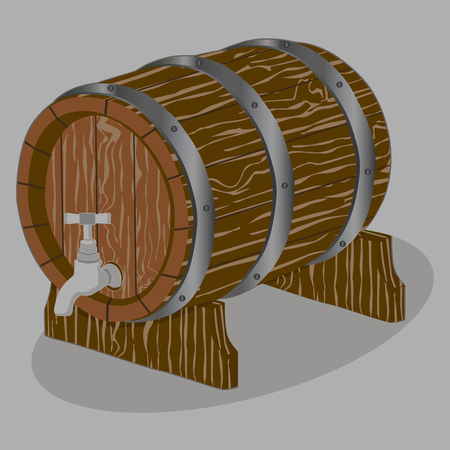 Vector illustration logo for whole wood barrel filled with wine, background.Barrel drawing consisting of tag label, natural container made of oak.Storage of organic honey, liquid oil in wooden barrels. Illustration