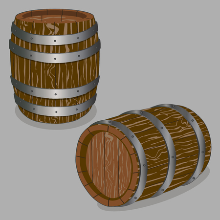 stopper: Vector illustration logo for whole wood barrel filled with wine, background.Barrel drawing consisting of tag label, natural container made of oak.Storage of organic honey, liquid oil in wooden barrels. Illustration