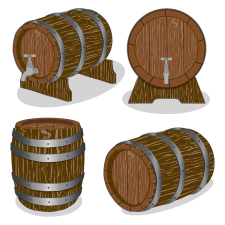 steel drum: Vector illustration logo for whole wood barrel filled with wine, background.Barrel drawing consisting of tag label, natural container made of oak.Storage of organic honey, liquid oil in wooden barrels. Illustration