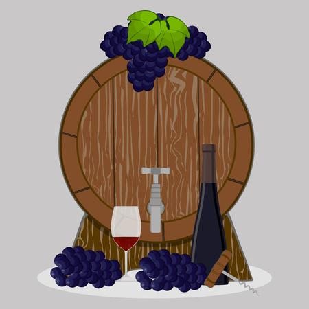 steel drum: Vector illustration logo for wood barrel filled with wine, background.