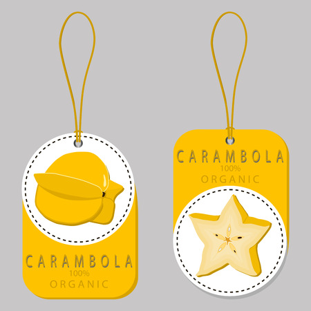 Vector illustration logo for whole ripe fruit yellow carambola, cut half sliced, background.Carambola drawing pattern consisting of tag label, natural sweet food.Eat fresh raw organic fruits carambolas.