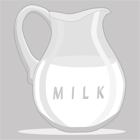Vector illustration logo for set white milk in bottles, background.Milk pattern consisting of glass jug filled, carton lactic, dairy package, natural product.Drink fresh raw organic liquid milks to health