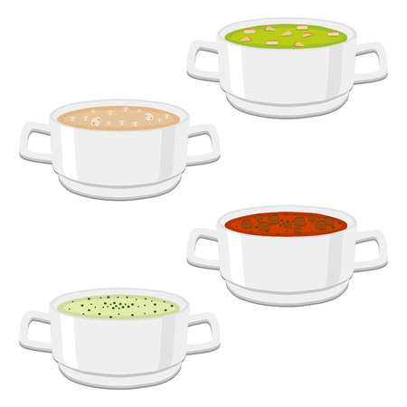 Vector illustration of logo for the ceramic bowl, wide plate is filled with various homemade soups with noodles Illustration