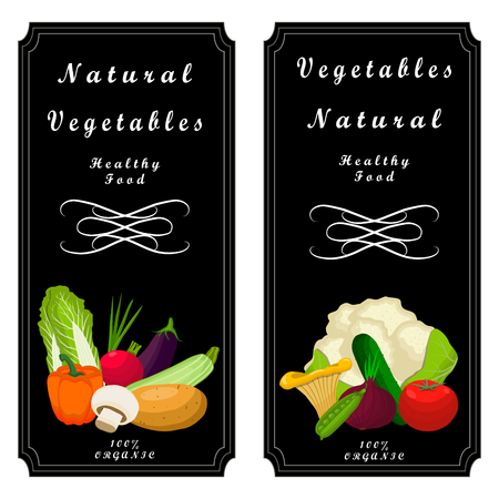 Vector illustration logo vegetables: pepper, pumpkin, tomato, cucumber, carrot, beet, potato, broccoli, mushroom, peas, olive, cabbage, onion, zucchini, radish, eggplant, cut sliced.Cucumbers, potatoes on background.