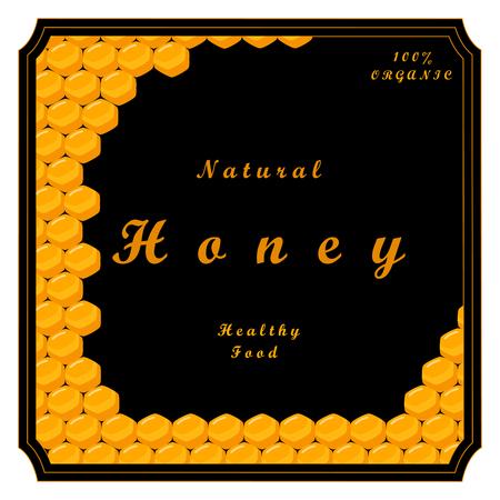 Vector illustration of logo for the theme bee eat honey, yellow honeycomb, background animal. Illustration