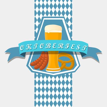 filled: Vector illustration logo for bar banner oktoberfest, pub during the festival, beer mug with foam filled to the brim, vintage pubs. Illustration
