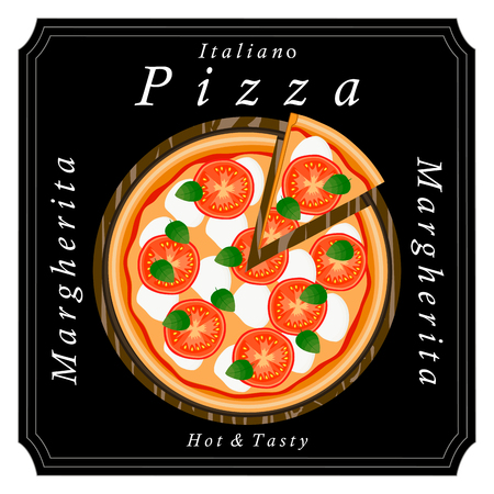 Vector logo illustration for pizzeria menu, sliced ??triangle, whole hot pizza.Pizza on the wood board, the ingredients for the pizzas on the chalkboard, Italian flag on background, delivery in cardboard box