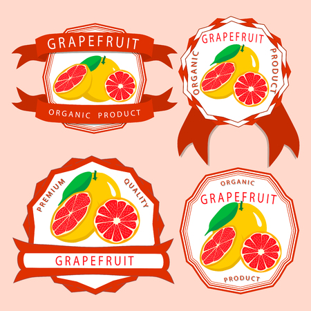 Abstract vector illustration logo for whole ripe fruit orange grapefruit citrus cut sliced.Grapefruit drawing set of tag label bow peel fruits, pip ripe sweet food.Eat fresh oranges grapefruits.