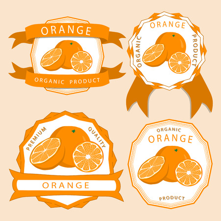 Abstract vector illustration logo for whole ripe fruit yellow orange with green stem leaf cut sliced.Orange drawing consisting of tag label bow peel fruits piping ripe sweet food.Eat fresh oranges health