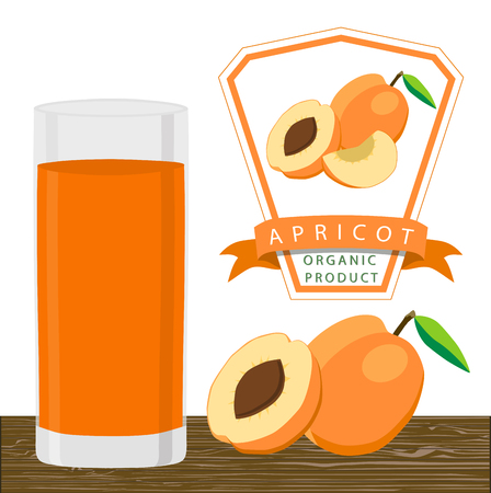 Abstract vector illustration logo whole ripe fruit apricot with green stem leaf cut sliced ??background.Apricot drawing set of tag label peel fruits pip ripe sweet food.Drink fresh apricots glass Illustration