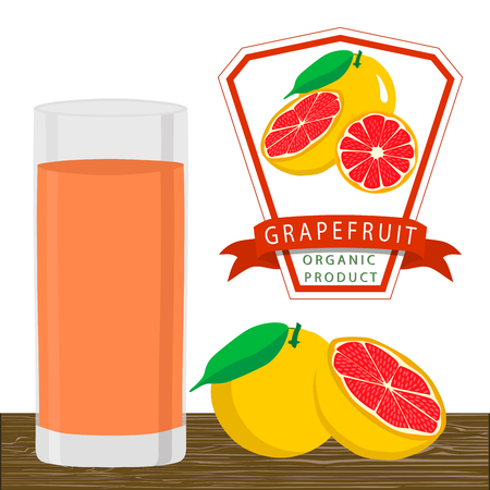 Abstract vector illustration logo for whole ripe fruit orange grapefruit citrus cut sliced.Grapefruit drawing set of tag label fruits ripe sweet food.Drink fresh citruses grapefruits glass. Illustration