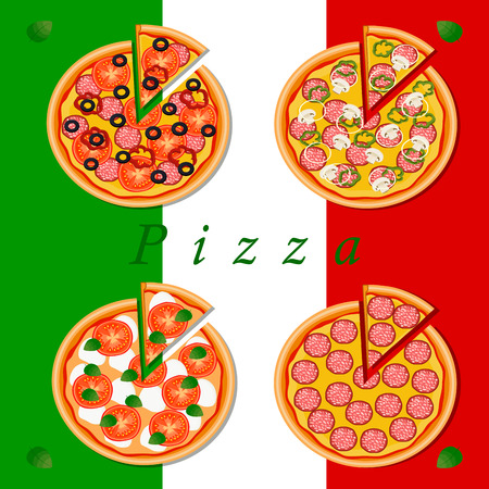 pepperoni: Vector logo illustration for pizzeria menu sliced ??triangle whole hot pizza.Pizza on the wood board the ingredients for the pizzeria on the chalkboard