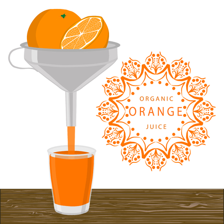 Abstract vector illustration logo whole ripe fruit yellow orange cut sliced, glass background.Orange drawing consisting of tag label peel fruits, pip ripe sweet food.Drink fresh oranges slice in glass.