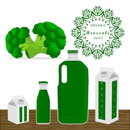 cut up: Vector illustration logo for whole ripe vegetables broccoli green stem leaf cut sliced ??close-up, bottle background.Broccoli drawing pattern consisting of tag label peel ripe food.Drink bottle broccolis.