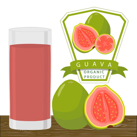 Vector illustration logo for whole ripe fruit red guava cut half sliced ??glass background. Guava drawing. Drink fresh raw organic exotic fruits guaves.