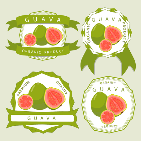 Vector illustration logo for whole ripe fruit red guava, cut half sliced ??closeup background. Guava drawing consisting of tag label, natural sweet food juice.Eat fresh raw organic exotic fruits guaves.