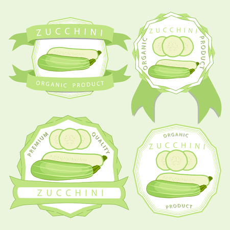Vector illustration logo for whole ripe vegetable squash zucchini with green stem cut sliced ??closeup background.Zucchini drawing pattern consisting of tag label fruit, squash ripe.Eat fresh zucchinis.