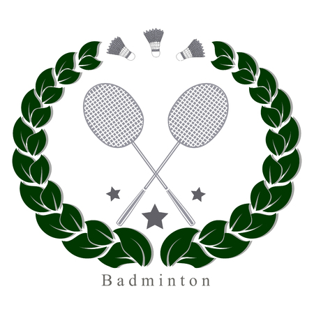 Vector illustration of logo for the game of badminton flying shuttlecock racket on background.Badminton drawing of sports equipment rackets for games. Illustration