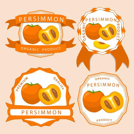 Abstract vector illustration logo whole ripe yellow fruit persimmon green stem, cut half sliced ??kaki on background. Illustration