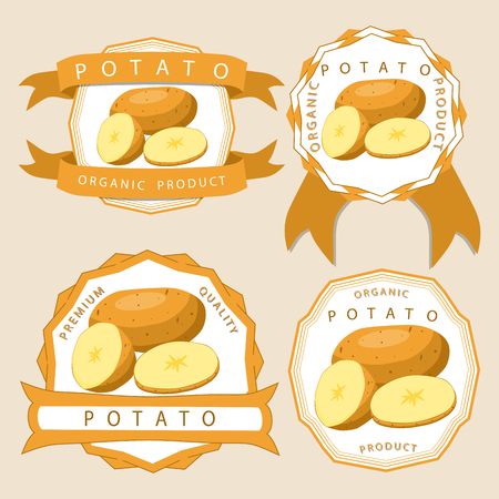 Abstract vector illustration logo for whole vegetable potato, cut sliced ??in background. Иллюстрация
