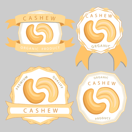 Abstract vector illustration logo whole ripe brown cashew nut cut sliced, product hazel background. Illustration